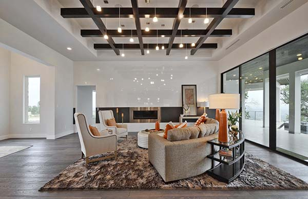 Living room ceiling grid in Seven Custom Homes HBA parade house.