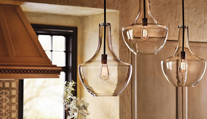 The Everly collection from Kichler Lighting is a best seller and looks beautiful with the vintage filament bulbs.